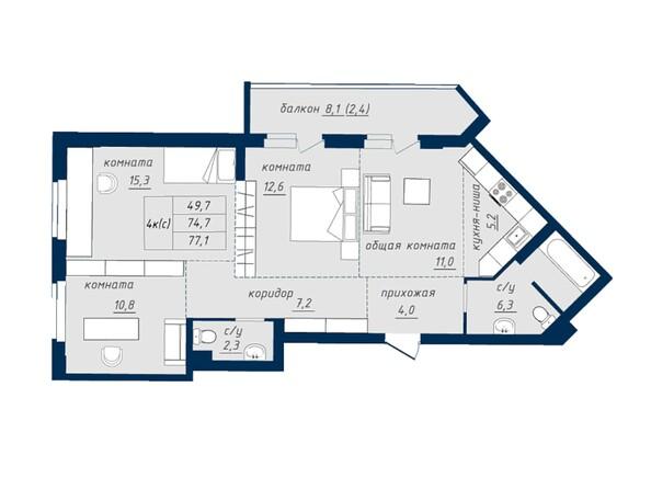 Планировка 4-комн 76,9, 77,1 м²