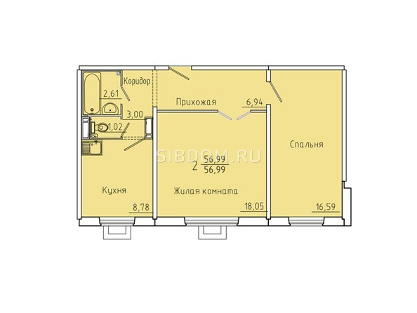 Планировки Жилой комплекс Иннокентьевский, 3 мкр, дом 6 - Планировка двухкомнатной квартиры 56,99 кв.м