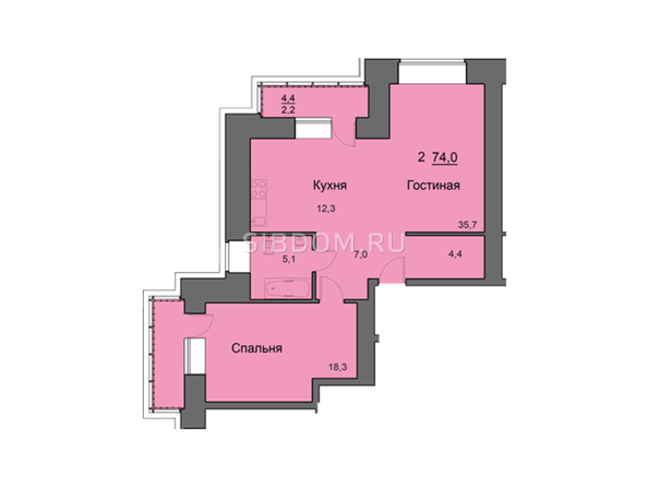 Планировки Жилой комплекс SKY SEVEN, б/с 8, 2 оч - Планировка двухкомнатной квартиры 74,1 кв.м