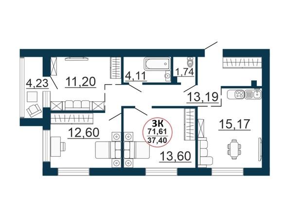 Планировка 3-комн 71,33 - 71,61 м²