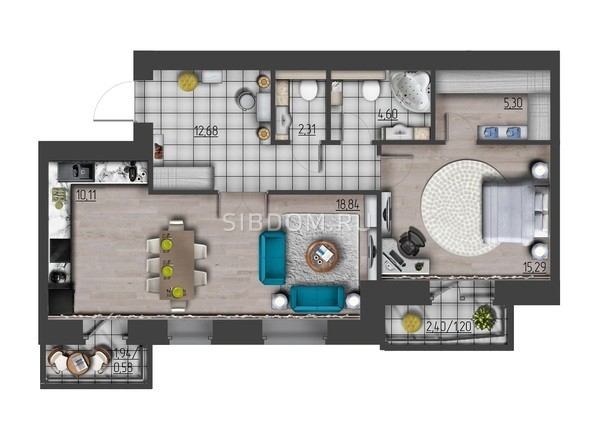 Планировки Жилой комплекс ПРЕОБРАЖЕНСКИЙ, дом 9 - 2-комнатная 70,91 кв.м