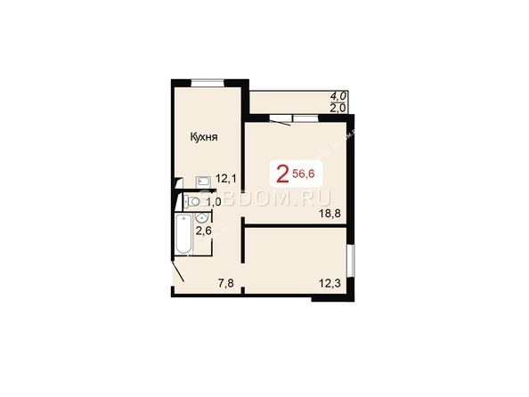 Планировки Жилой комплекс НОВОНИКОЛАЕВСКИЙ ж/к, 2 дом, 3 стр - Планировка двухкомнатной квартиры 56,6 кв.м