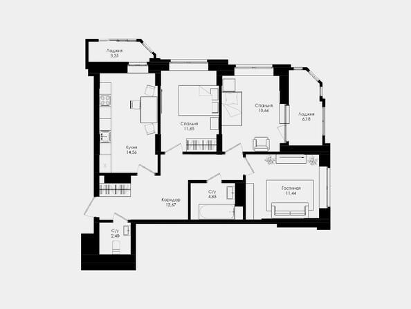 Планировки Жилой комплекс ЛОМОНОСОВ - 3-комнатная 68,03 кв.м