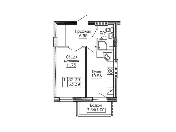 1-комнатная 33.23; 33.39 кв.м