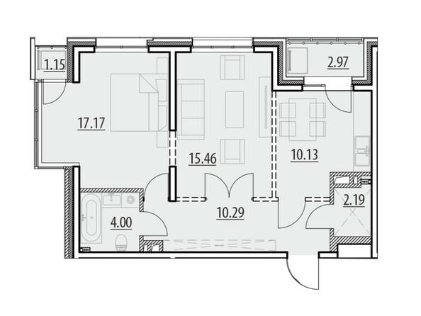 Планировка 2-комн 62,4 - 63,83 м²