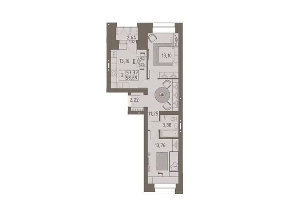 Планировки ВАВИЛОВСКИЙ ДВОРИК - 2-комнатная 58,69 кв.м