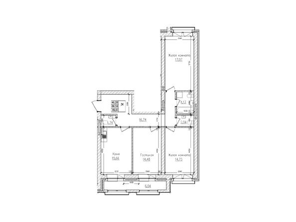 Планировки Жилой комплекс КРАСНЫЙ ПРОСПЕКТ, дом 2 - 3-комнатная 86,5 кв.м