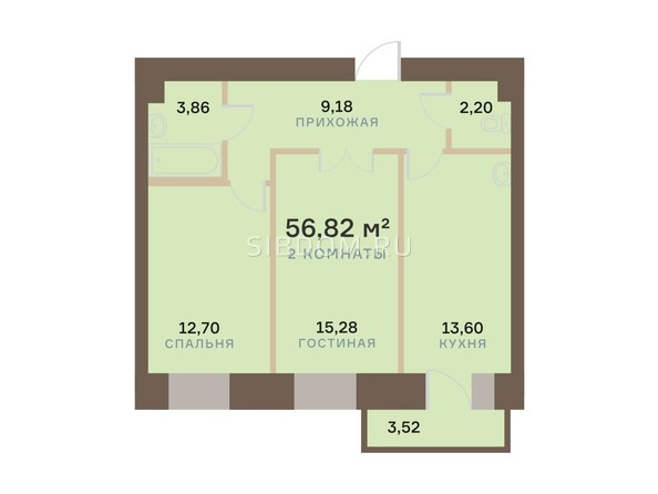 Планировка 2-комн 56,82 м²