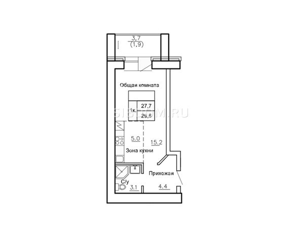 Планировки Жилой комплекс НОВАЯ ПРИСТАНЬ, дом 4 - Планировка однокомнатной квартиры 29,6 кв.м