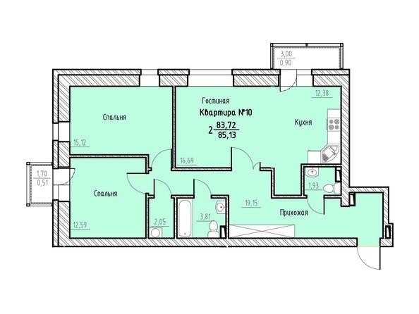 Планировка 2-комн 85,13 м²