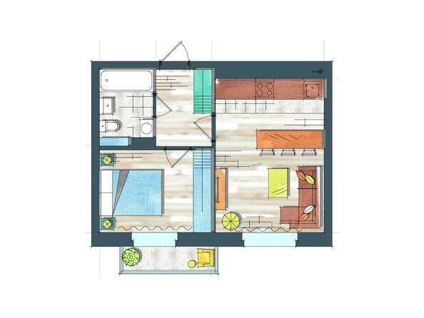 Планировки Жилой комплекс ПРЕОБРАЖЕНСКИЙ, дом 22, этап 2 - Планировка однокомнатной квартиры 39,1 кв.м