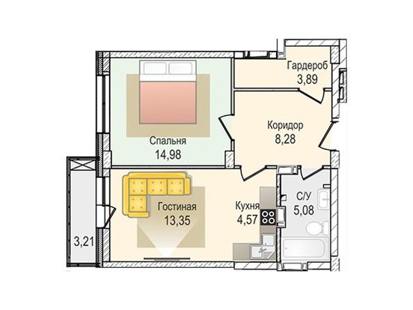 Планировки Жилой комплекс КрымSky, дом 8 - 2-комнатная 50,15 кв.м