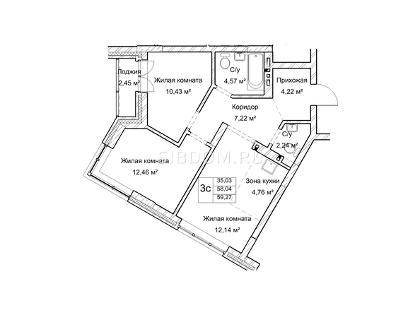 Планировки Жилой комплекс ГУДИМОВ - Планировка трехкомнатной квартиры 58 кв.м