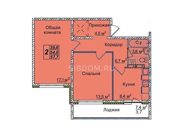 Планировки Жилой комплекс ЮНОСТЬ, дом 1/1 - 2-комнатная 57,7 кв.м