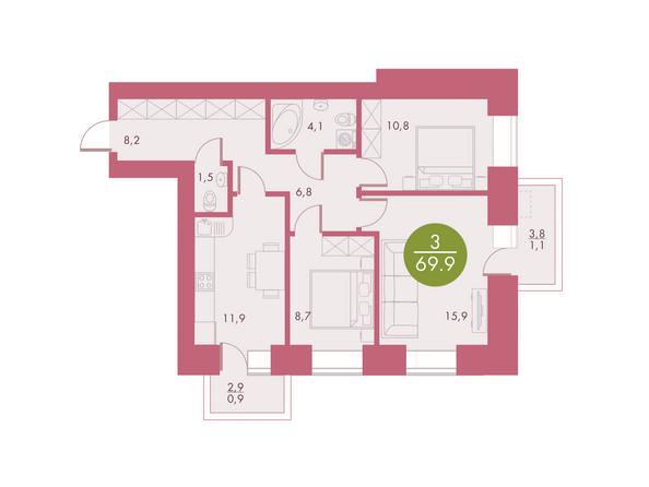 Планировки Жилой комплекс Арбан SMART (Смарт) на Шахтеров, д 1 - Планировка трехкомнатной квартиры 69,9 кв.м