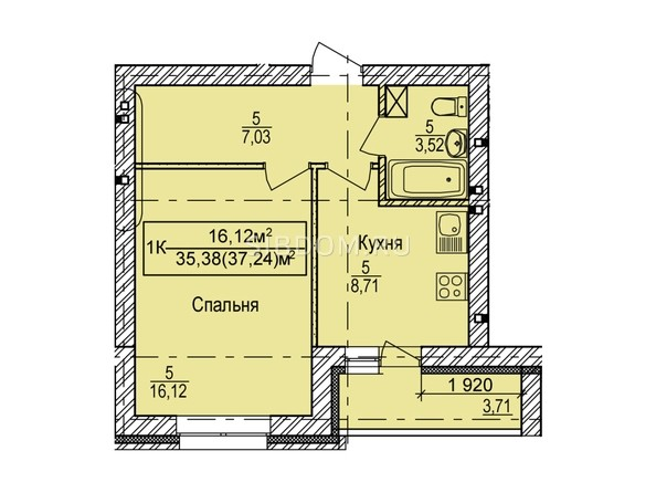Планировка 1-комн 37,24 м²