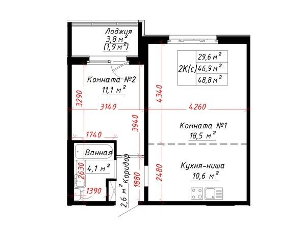 Планировка 2-комн 48,8 м²