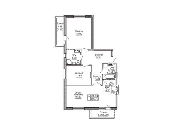 3-комнатная 83.7 кв.м