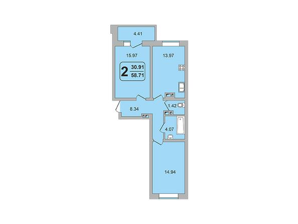 Планировки ГРАНД-ПАРК, б/с 2-2 - 2-комнатная 58,71 кв.м