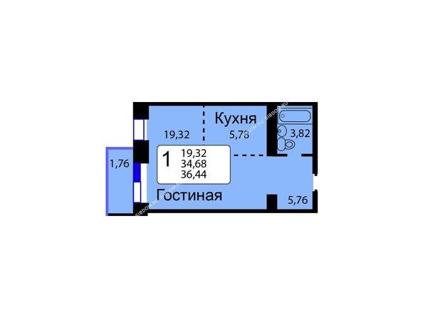 Планировки Жилой комплекс РЯБИНОВЫЙ САД, 3 оч, 2 этап - Б/С - 12. Планировка однокомнатной квартиры 36,44 кв.м. Этажи 1-9.