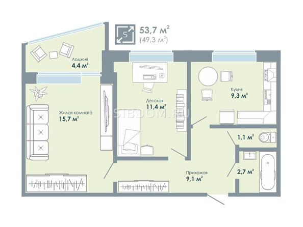 2-комнатная 53,7 кв.м