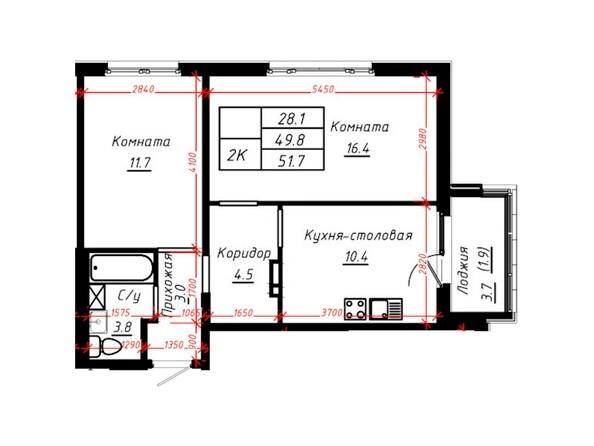 2-комнатная 51,7 кв.м