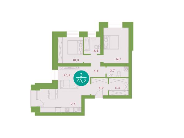 3-комнатная 75,2 кв.м