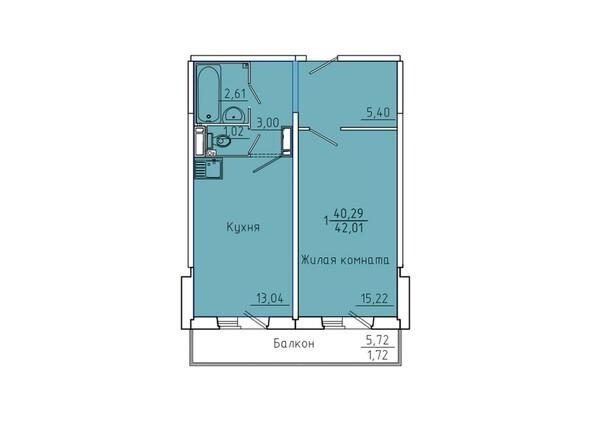 Планировки Жилой комплекс Иннокентьевский, 3 мкр, дом 6 - Планировка однокомнатной квартиры 42,01 кв.м
