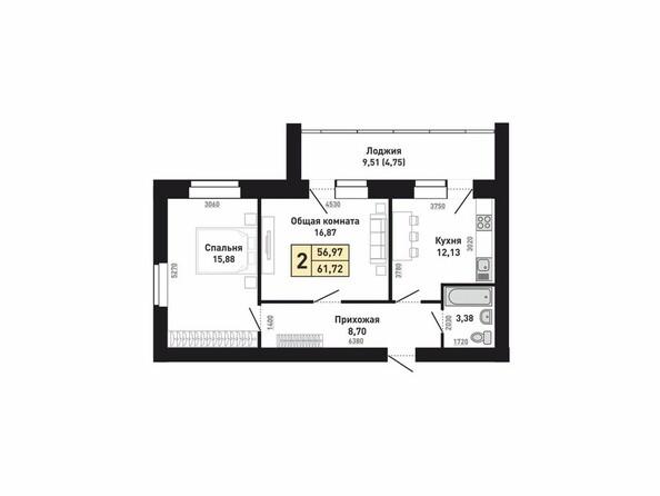 Планировки Жилой комплекс КРАСНООБСКИЙ, дом 230 - Планировка двухкомнатной квартиры 56,97 кв.м