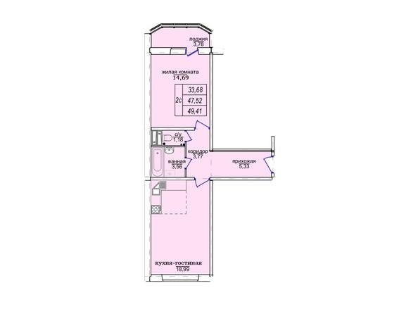Планировки Жилой комплекс СОФИЙСКИЙ КВАРТАЛ, дом 3 (Троллейная,3) - 2-комнатная 49,41 кв.м