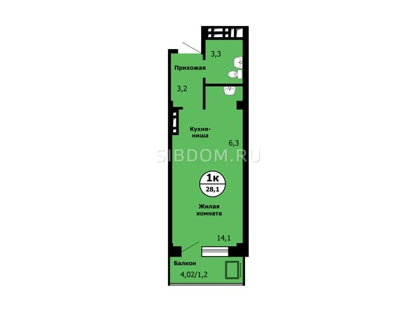 Планировка Студия 0 м²