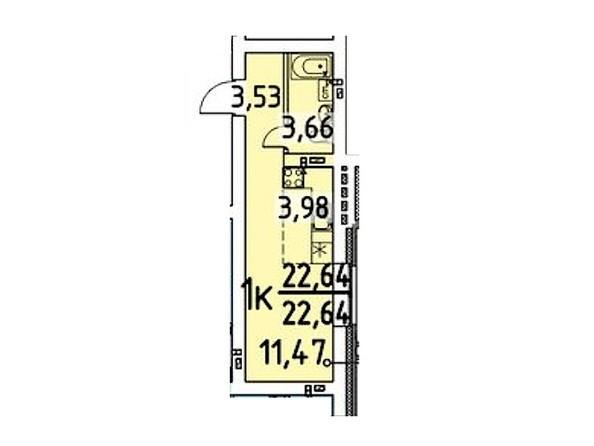 Планировка 1-комн 22,64 м²