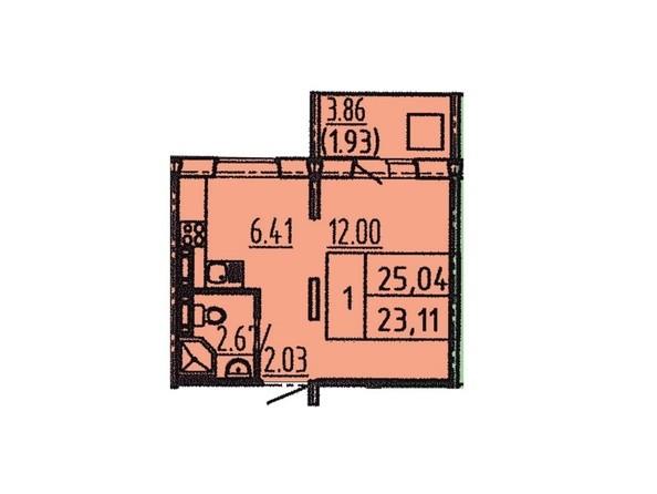 1-комнатная 25,04 кв.м