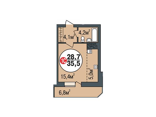 Планировки Жилой комплекс ПОКРОВСКИЙ, б/с 3, 4, 5 - Планировка однокомнатной квартиры 35,5 кв.м