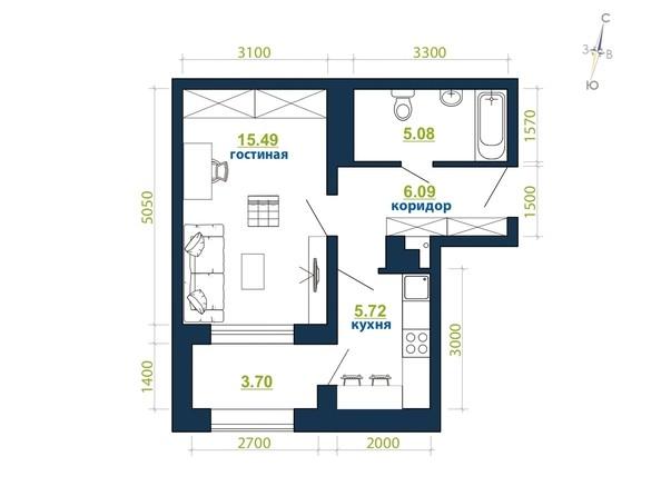 Планировка 1-комн 36,08 м²