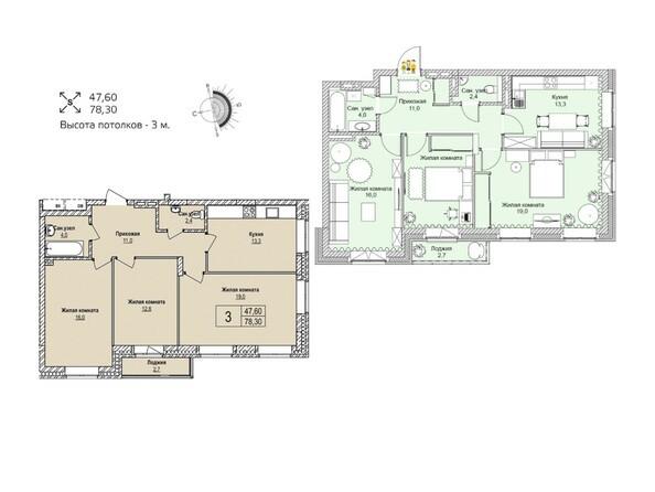 Планировки Жилой комплекс ЭВОЛЮЦИЯ, 1 оч, дом 2 - Планировка трехкомнатной квартиры 78,3 кв.м