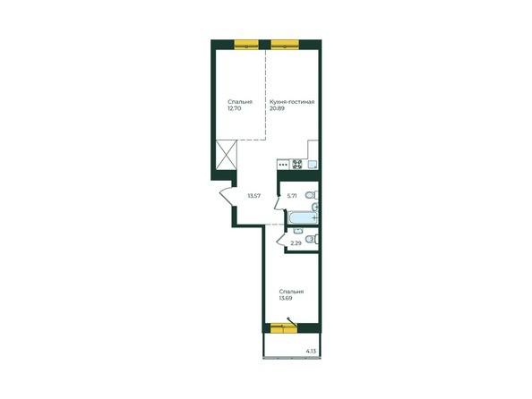 2-комнатная 72,98 кв.м