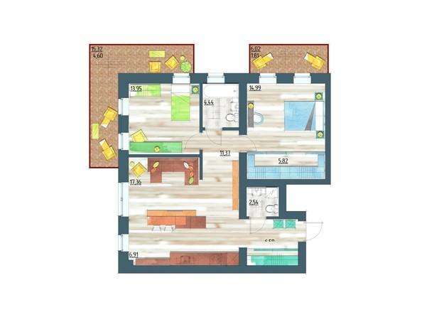 Планировки Жилой комплекс ЖИВЁМ эко-район, 5 квартал, дом 1 - Планировка трехкомнатной квартиры 90,38 кв.м