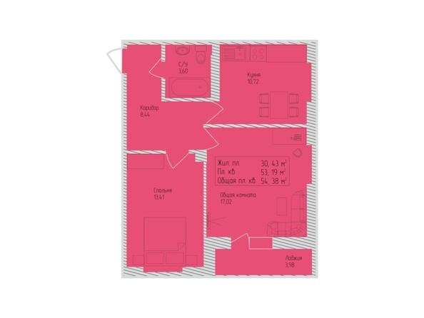 Планировки Жилой комплекс СЕВЕРО-ЗАПАДНАЯ, дом 5 - 2-комнатная 54,38 кв.м
