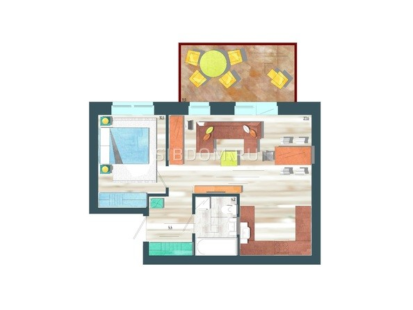 Планировки Жилой комплекс ЖИВЁМ эко-район, 10 квартал, дом 1 - Планировка двухкомнатной квартиры 50,2 кв.м