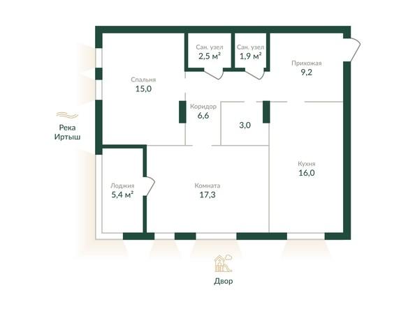 Планировка 2-комн 78,1, 78,5 м²