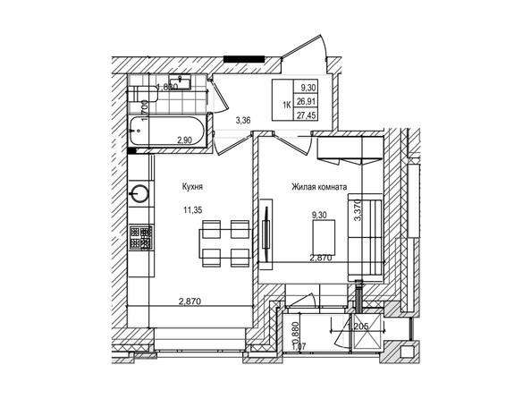 Планировка 1-комн 26,9 м²