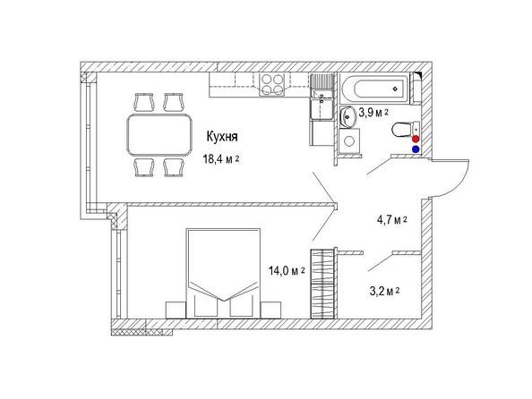 Планировка однокомнатной квартиры 46 кв.м