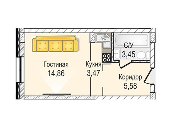 Планировки Жилой комплекс КрымSky, дом 7 - 1-комнатная 27,36 кв.м
