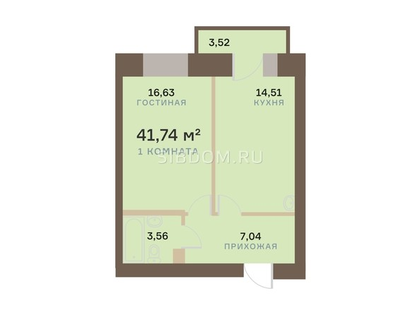 Планировка 1-комн 41,74 м²