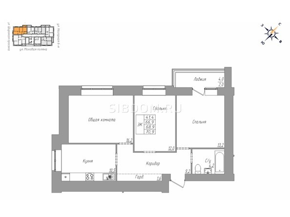 Планировка 3-комн 70 м²