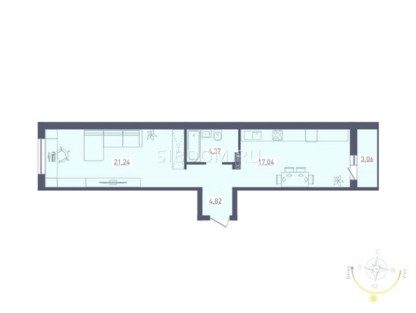 Планировка 1-комн 48,95 - 49,01 м²
