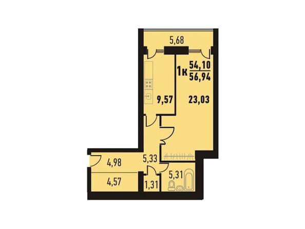Планировки Жилой комплекс Северный парк, дом 13 - Планировка однокомнатной квартиры кв.м