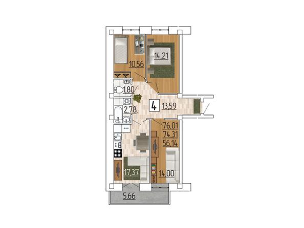 Планировка 4-комн 76,01 м²