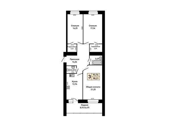3-комнатная 98.2 кв.м